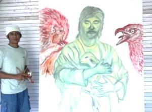 """Garap lukisan """"Tenang di pelukan Roh-Nya"""""""