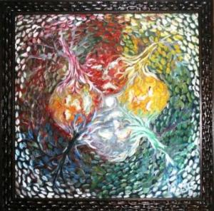 Cakra Bumi, Oil on Canvas, 90cm X 90cm, 2008