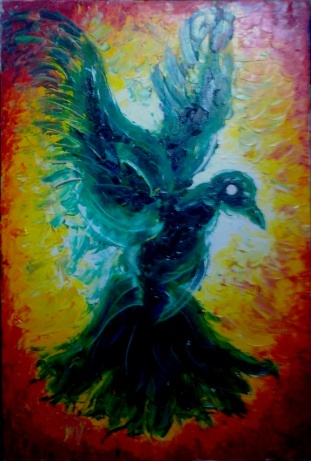 """Green Pigeon"", Thick textured paletted oil color on Canvas, 70cm X 90 cm, Moses Yes, June 2012."