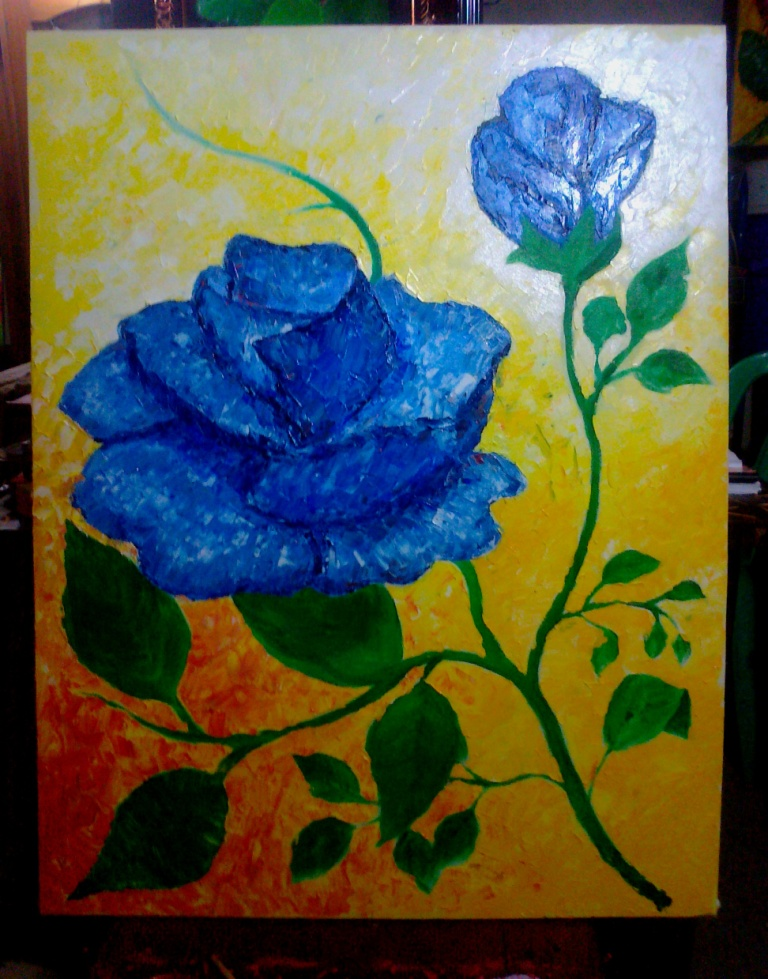 """Blue Rose"""" , Thick textured paletted oil coloron Canvas, 70cm X"""