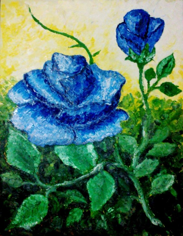 Blue Rose, Oil on canvas, 70cm X 90cm, Moses Oyes, Aug. 2012